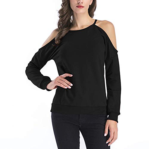 ESAILQ Frauen Schulterfrei Lace Top Langarm Bluse Damen Casual Tops Shirt (S, Schwarz-1)