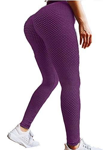 FITTOO Leggings Mallas Mujer Pantalones Deportivos Yoga Alta Cintura Elásticos y Transpirables Morado Mediana