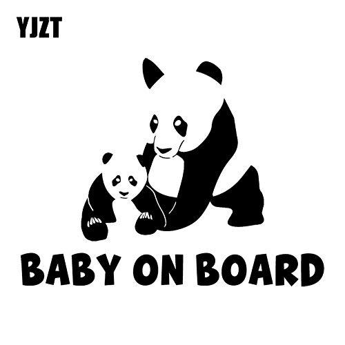 WAXY 16.4X12.3CM Panda Mutter und Baby Ganzkörper Cartoon Mode Auto Aufkleber Baby Dekoration C25-0299 Silber