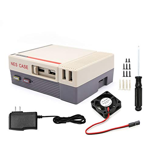 The perseids NES NesPi Case,VCR Retro Synth Mini Computer Case with Cooling Fan for Raspberry Pi 3, 2 and B+ (Grey)