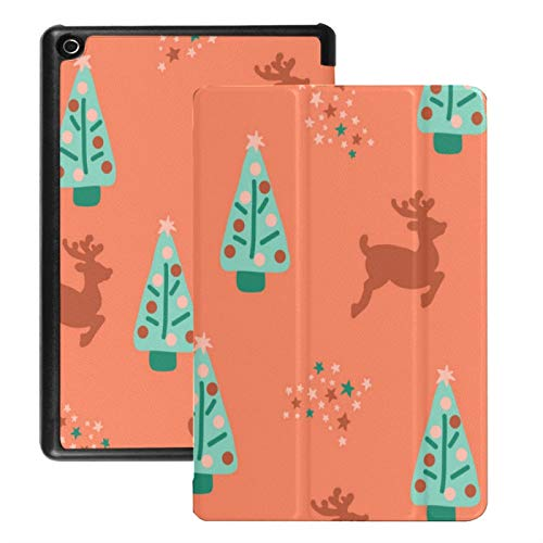 Case For Fire Hd 8 Tablet (2018/2017/2016 Release),Repeat Christmas Trees Reindeer Case Cover With Auto Wake/sleep