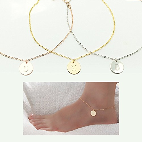 Personalized Initial Disc Anklet Anklet Gift for Her Personalized Gift Charm Initial Anklet Charm Anklet Gift for Her Body Jewelry - CA