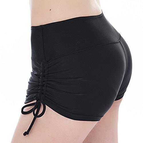 TFENG Frauen Sport Badeshorts mit verstellbarem Tunnelzug UV Schutz Bikini Bademode Tankini Bottoms, Schwarz, S