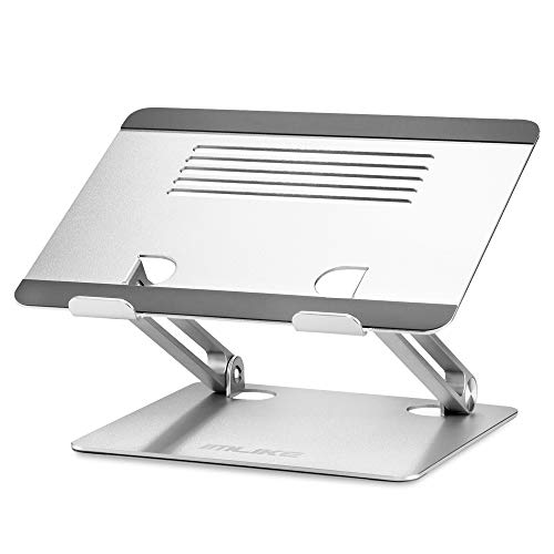 IMLIKE Laptop Stand Adjustable Ergonomic: Foldable Holder Aluminum Desk Riser Compatible with MacBook Pro Air Dell All Laptops Under 17.3 Inches Sturdy Computer Table Stand Silver