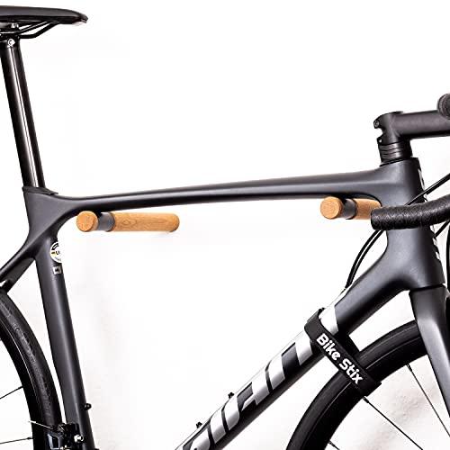 Bike Stix® Fahrrad Wandhalterung aus Holz - Super hochwertige Auflage der Fahrradhalterung - Minimalistisches Design aus Eiche für Rennrad, Fahrrad und MTB (Fahrrad Eiche)