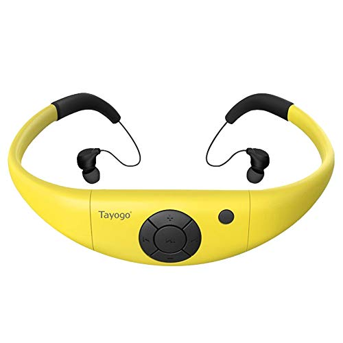 Tayogo 8GB Waterproof MP3 Player, IPX8 Swimming Waterproof Headphones Work for 6-8 Hours Underwater 3 Meters with Shuffle Feature - Yellow