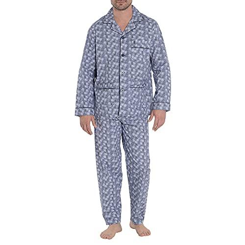 El Búho Nocturno Pijama de Caballero de Manga Larga clásico Estampado de Tela popelín de algodón para Hombre L Monociclos Marino-Blanco