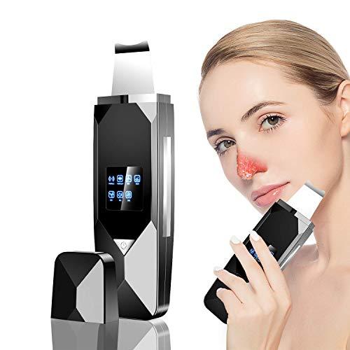 Haut Scrubber, doedoeflu Ultraschall Mitesserentferner, 3 in 1 Elektrischer Ultraschall peelinggeraet Instrument Gesichtsreiniger Porenreiniger Akne Dead Skin Entferner Tiefenreinigung (Schwarz)