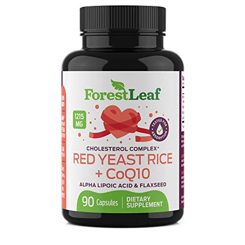 Red Yeast Rice Care with COQ-10 and Organic Flaxseed - Supports Cardiovascular Health - 1215mg - Daily Dietary Supplements… (90)