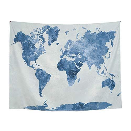 Broadwage Weltkarte - Polyester - 200 x 150 cm - World map Poster Tapisserie - Karte Wanddekoration - Tischdecke - für Weltenbummler, Globetrotter, Urlauber, Backpacker oder Sprachschüler