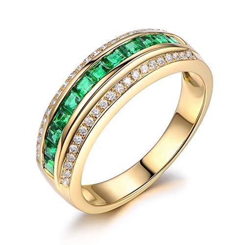 Gems.RDX Anillo de eternidad para Mujer, Regalo de Compromiso de Boda con Anillo de Esmeralda y Diamantes de 18K Amarillo Oro