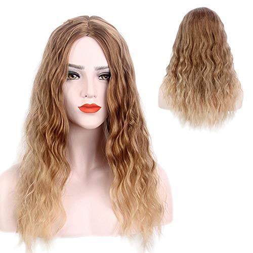 Peluca de pelo largo y rizado en la moda de gradiente de maíz caliente fiesta de disfraces marrón