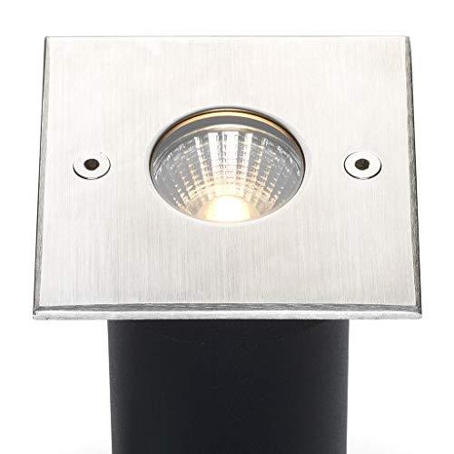 LED grondspot Meda Plug&Play | vloerspots/grondspots/buitenverlichting/tuinverlichting | 5W / RVS / vierkant / buiten / 230V / IP67 / warmwit