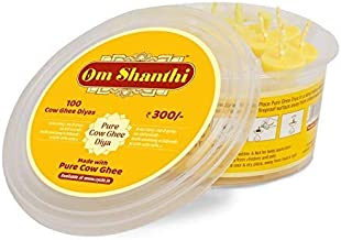 Om Shanthi Wax Free Pure Cow Ghee Diya (100 Diyas) for Puja and Special Ocassions