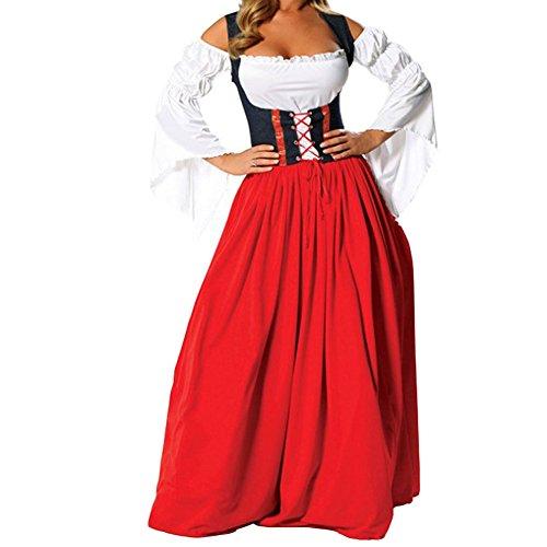 Hallowmax Deguisement Adulte Femme Costume Cosplay Pirate Jupe Rouge, la fête de la bière