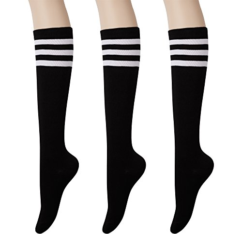 KONY Womens Cotton Knee High Socks - Casual Solid & Triple Stripe Colors Fashion Socks 3 Pairs (Womens Shoe Size 5-10) (Black Stripe - 3 Pairs)