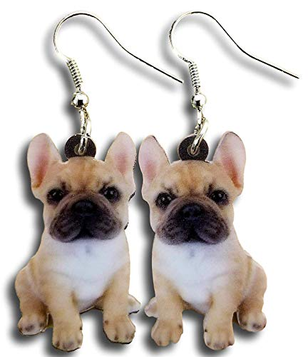 Cute French Bulldog Puppies Hard Lightweight Acrylic Charm Earrings by Pashal