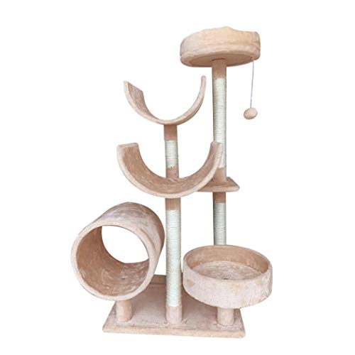 Cat Tree, Tall Large Cat Scratching Post, Multi-Level Stable Cat Climbing Tower with Padded Plush Perches, Play Towers, Cat Climbing Tower Toys for Cat's Activity, Beige