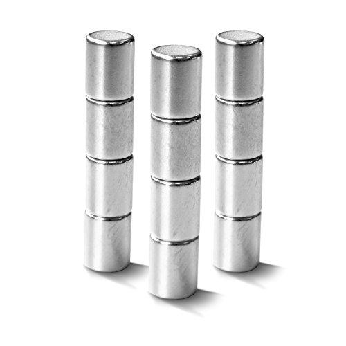 Neodym Magnete extra stark für alle magnetischen Flächen | auch für Glasmagnettafeln | verschiedene Formen | 12 Stück im Set | Zylinder (8x10 mm)