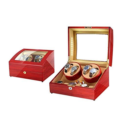 WXDP Enrollador de Reloj automático,Caja enrolladora de automática, 5 Modos de rotación con LED, Caja de presentación de Almacenamiento de 10 Relojes (Colo
