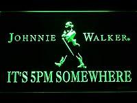 Johnnie Walker It's 5pm Somewhere LED看板 ネオンサイン ライト 電飾 広告用標識 W40cm x H30cm グリーン