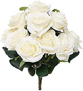 Sweet Home Deco 18'' Princess Diana Rose Silk Artificial Flower Valentine's Day (10 Stems/10 Flower Heads), The Most Beautiful Roses for Wedding/Home Decor (Ivory)