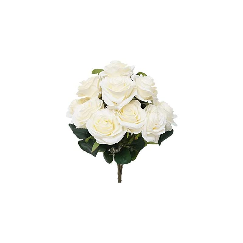 silk flower arrangements sweet home deco 18'' princess diana rose silk artificial flower valentine's day (10 stems/10 flower heads), the most beautiful roses for wedding/home decor (ivory)
