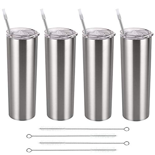 Stainless Steel Skinny Tumbler Set, Insulated Travel Tumbler with Closed Lid Straw, Skinny Insulated Tumbler, 20 Oz Slim Water Tumbler Cup for Coffee Water Hot Cold Drinks, Set of 4, Silver