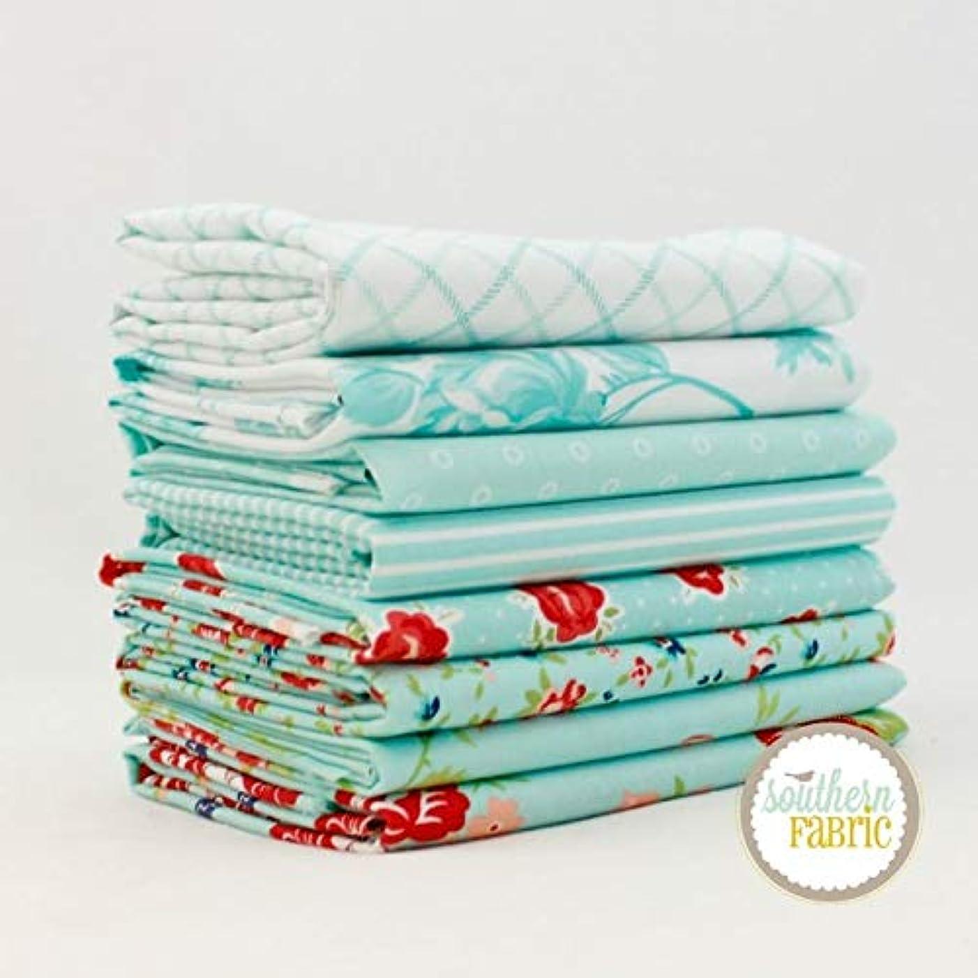 United Notions Smitten - Aqua Half Yard Bundle (8 pcs) by Bonnie and Camille 18 x 44 inches (45.72cm x 111.76cm) Fabric cuts DIY Quilt Fabric