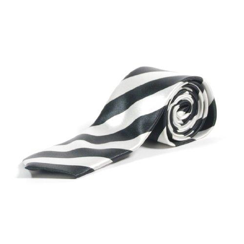 Cravates Minces Rayures Diagonales - Noir & Blanc