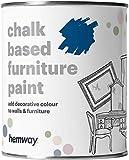 Hemway - Vernice per mobili a base di gesso blu reale, finitura opaca, per lavori fai da te, 1 l, stile shabby chic vintage