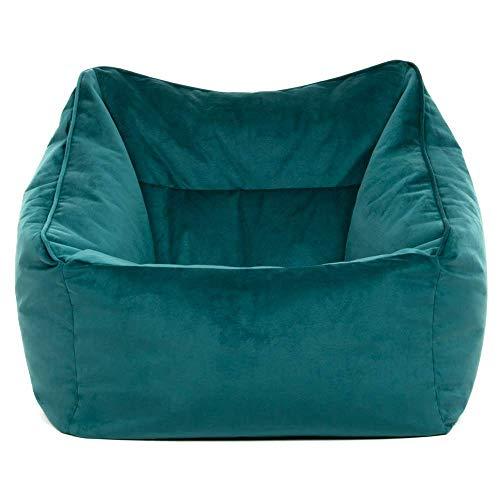 """Icon Übergroßer Sitzsack-Sessel """"Milano"""", Blaugrün, Riesige Sitzsäcke für das Wohnzimmer, 100cm x 88cm, Extra groß, Samt, Sitzsäcke für das Wohnzimmer"""