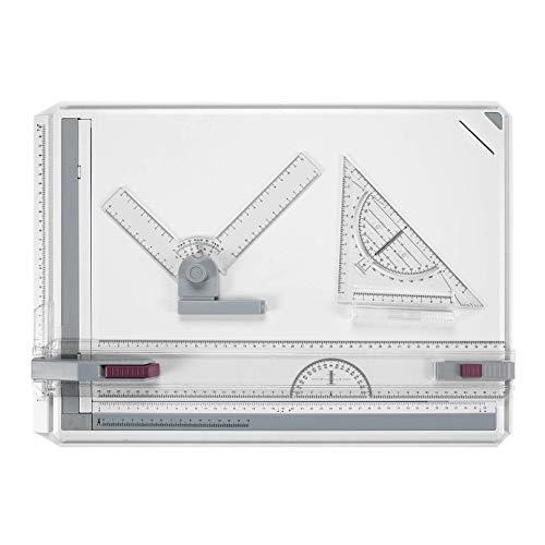 BATHWA A3 Tablero de dibujo, 50.5 x 37cm Multifunción College School Métrico A3 Tablero de dibujo Set Mesa de dibujo con movimiento paralelo y ángulo ajustable 🔥