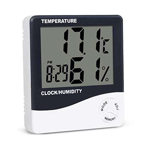 JulySeeYouz Digitale hygrometer, binnenthermometer, digitale binnenshuis, hygrometer, bewakingsruimte, vochtmeter, met groot lcd-display, voor thuiskantoor, indoor en wonen