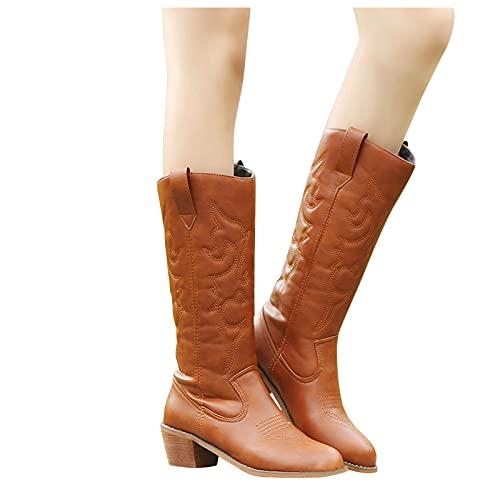 Binggong Botas de mujer de caña larga, botas de vaquero, botas vintage con tacón para invierno, cálidas, antideslizantes, elegantes botines de vaquero, botas de cowboy para mujer