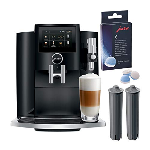 Jura S8 Automatic Coffee and Espresso Machine (Piano Black) with Cleaning Tablets (6-Count) and 2 Smart Filter Cartridges Bundle (4 Items)