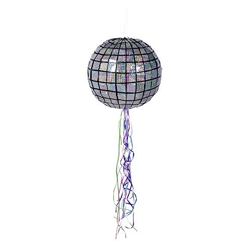Boland 30948 - Pull Pinata Discokugel, Durchmesser 30 cm, 20 Ziehbänder, zum Befüllen, Partyspiel, Kindergeburtstag, Geburtstagsspiele, Geschenk, Geschenkidee, Überraschung