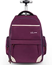HollyHOME 19 inches Wheeled Rolling Backpack for Men and Women Business Laptop Travel Bag, Upgrade Purple