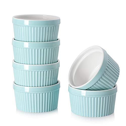 DOWAN 8 Oz Porcelain Ramekins - Souffle Dish Ramekins for Creme Brulee Pudding Oven Safe, Classic Style Ramekins Bowls for Baking, Set of 6, Blue