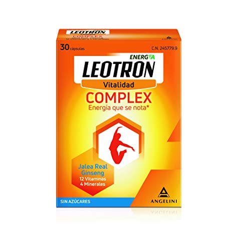 LEOTRON Complex - 30 cápsulas - Energía que se nota - Complemento alimenticio con Jalea Real, Ginseng, 12 vitaminas y 4 minerales - Envase para 30 días, a partir de 12 años.