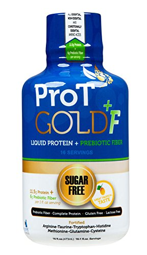 ProT GOLD +F Tropical Sugar Free Liquid Protein shots + Prebiotic Fiber - 16oz bottle with 16 1oz servings. A Clinically Proven Nano Hydrolyzed Collagen Protein used in 3K Medical Facilities