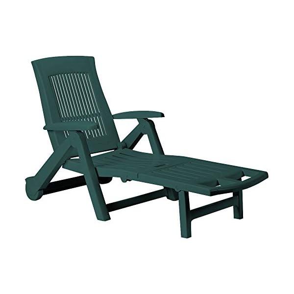 Casaria Sonnenliege Zircone Kunststoff Rollen verstellbare Rückenlehne klappbar Gartenliege Rollliege Liegestuhl…