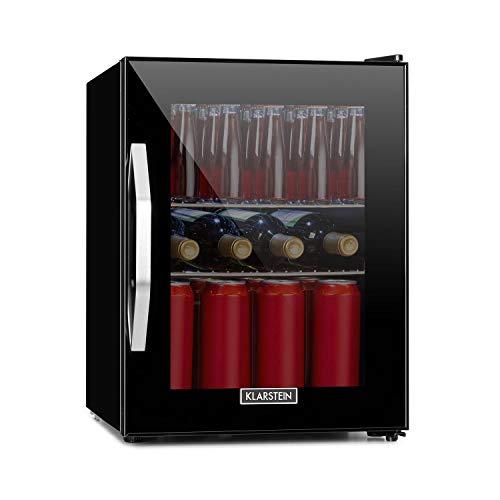 Klarstein Beersafe Onyx - Getränkekühlschrank, 5 Kühlstufen, 42 dB, flexible Metallböden, LED-Licht, Kühlschrank für Flaschen, Glastür mit schwarzem Rahmen, 35 L, Energieeffizienzklasse A++, Onyx