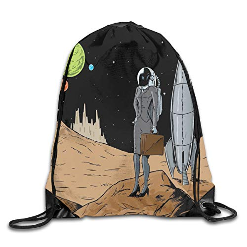 Drawstring Backpack Sports Gym Bag for Women Men, D0500 Business Woman In Space Briefcase Buying And Selling On Alien Planet