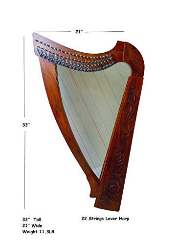 22 Strings Celtic Harp with Brass Levers with Free Carrying Bag, Tuning Key and Strings