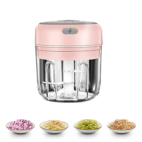 Electric Mini Garlic Chopper Portable Food Meat Dicers, Wireless Slicer Spice Grinder Rechargeable Mincer Blender Mixer, Kitchen Gadget Masher for Onion Chili Pepper (250ML)