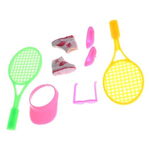 Toygogo Juego De Suministros De Tenis De 1/6 De Plástico para Accesorios Miniatura
