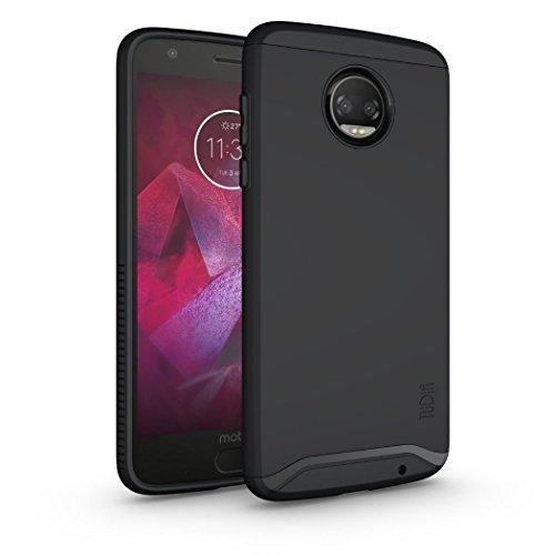 TUDIA DualShield Designed for Moto Z2 Force Case, [Merge] Dual Layer Slim Hard Matte Back Heavy Duty Case for Motorola Moto Z2 Force (Matte Black)