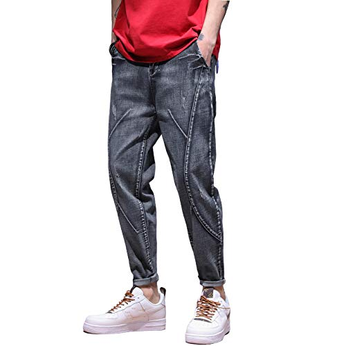 Vaqueros para Jeans Pantalones Jeans Hombres Motocicleta Jeans Streetwear Cordón Cintura Elástica Pantalones Sueltos Pantalones De Ocio Al Aire Libre Pantalones Vaqueros Joggers 31