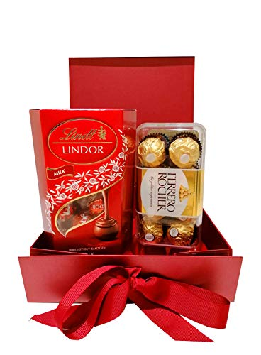 Auris 200G Lindt Lindor and 200G Ferrero Rocher Red Chocolate Hamper Gift Box:Great Valentine, Birthday Gift, Anniversary for Him and Her: Boys & Girls, Halloween Chocolate Gift Get Well Soon